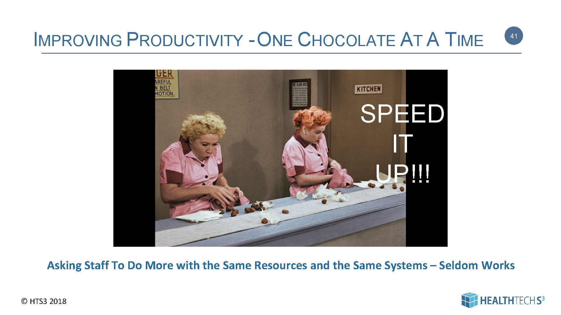 IMPROVING PRODUCTIVITY - ONE CHOCOLATE AT A TIME 41 SPEED IT UP!!! Asking Staff