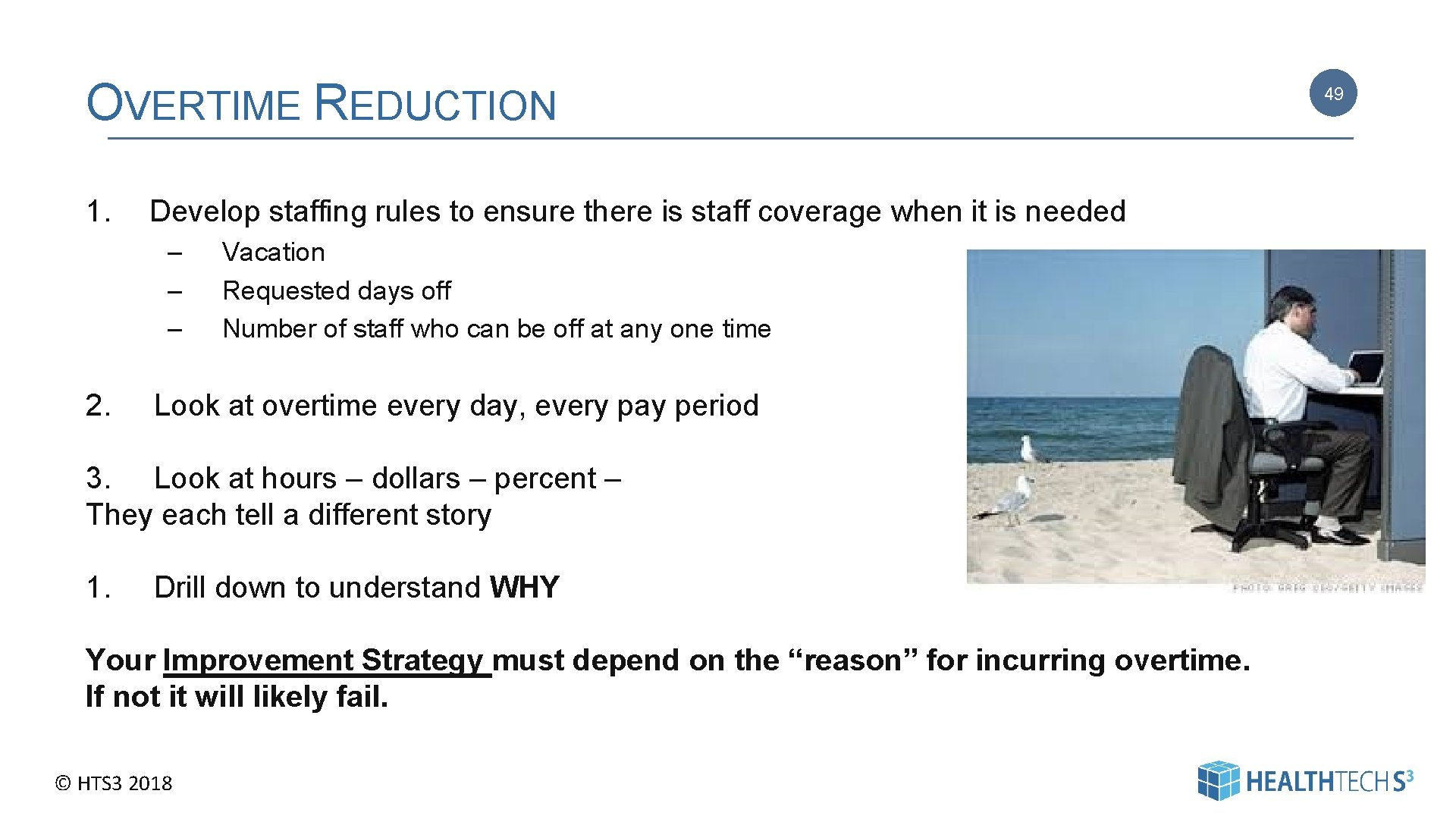 OVERTIME REDUCTION 1. Develop staffing rules to ensure there is staff coverage when it