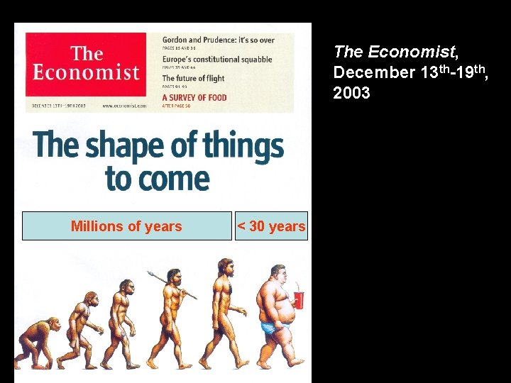 The Economist, December 13 th-19 th, 2003 Millions of years < 30 years