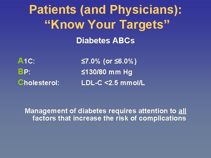 """Patients (and Physicians): """"Know Your Targets"""" Diabetes ABCs A 1 C: BP: Cholesterol: ≤"""