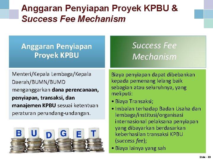 Anggaran Penyiapan Proyek KPBU & Success Fee Mechanism Anggaran Penyiapan Proyek KPBU Success Fee