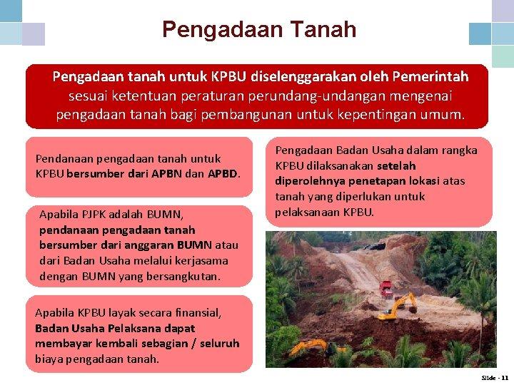 Pengadaan Tanah Pengadaan tanah untuk KPBU diselenggarakan oleh Pemerintah sesuai ketentuan peraturan perundang-undangan mengenai