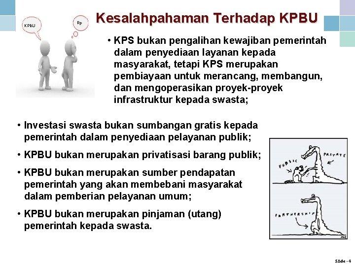 KPBU Rp Kesalahpahaman Terhadap KPBU • KPS bukan pengalihan kewajiban pemerintah dalam penyediaan layanan