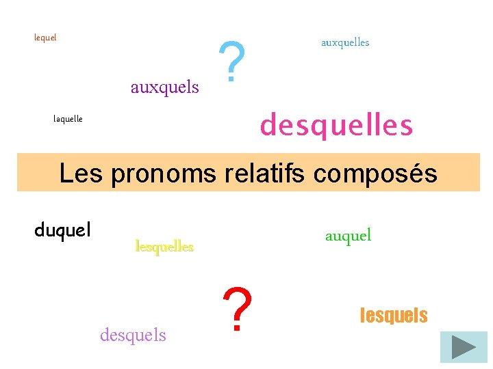 lequel auxquels ? auxquelles desquelles laquelle Les pronoms relatifs composés duquel auquel lesquelles desquels
