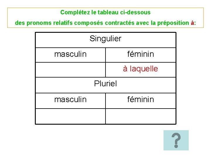 Complétez le tableau ci-dessous des pronoms relatifs composés contractés avec la préposition à: Singulier