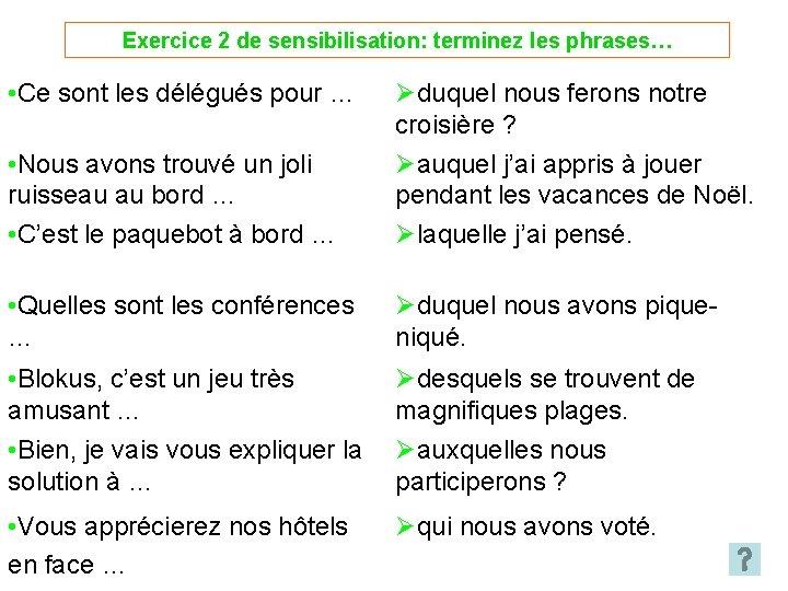 Exercice 2 de sensibilisation: terminez les phrases… • Ce sont les délégués pour …