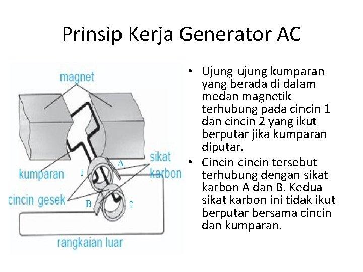 Prinsip Kerja Generator AC • Ujung-ujung kumparan yang berada di dalam medan magnetik terhubung