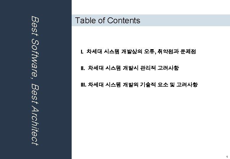 """""""Best Software, Best Architect """" Best Software, Best Architect 1 st KOREA SOFTWARE ARCHITECT"""