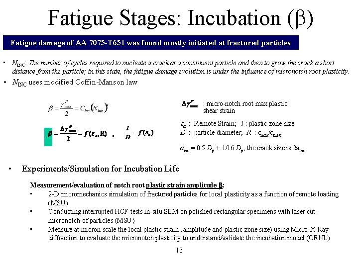 Fatigue Stages: Incubation (b) Fatigue damage of AA 7075 -T 651 was found mostly