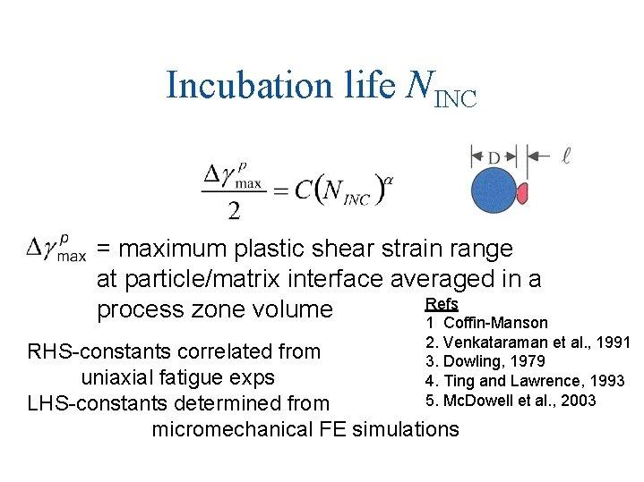Incubation life NINC = maximum plastic shear strain range at particle/matrix interface averaged in