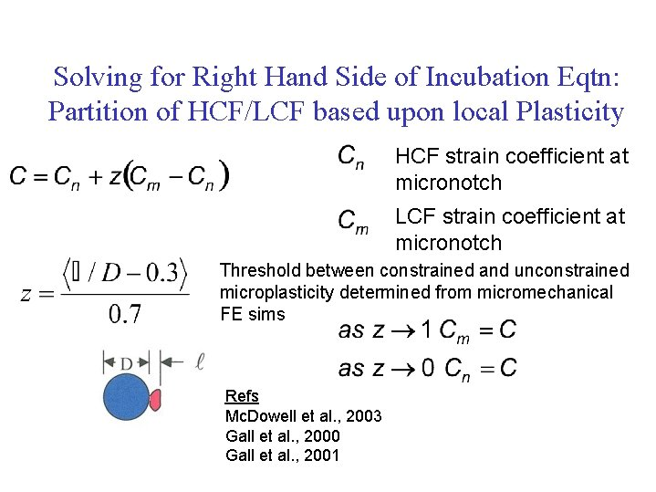 Solving for Right Hand Side of Incubation Eqtn: Partition of HCF/LCF based upon local