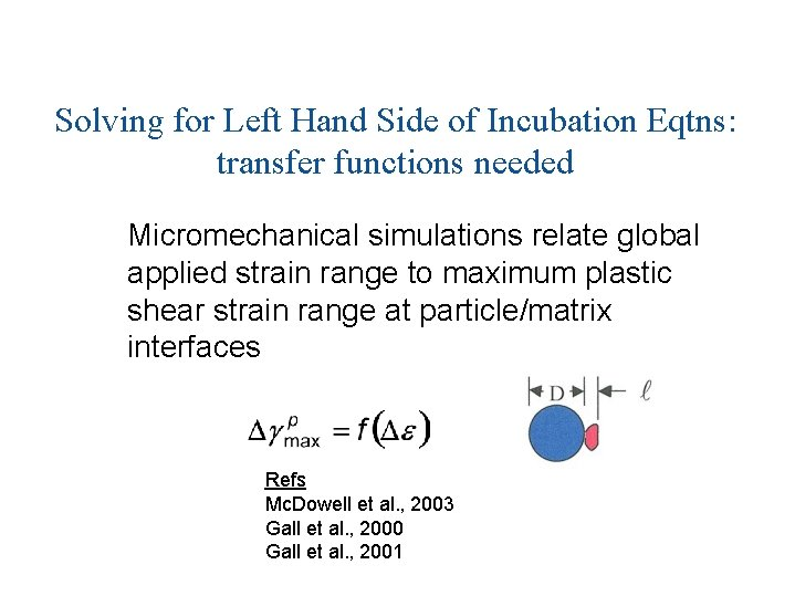 Solving for Left Hand Side of Incubation Eqtns: transfer functions needed Micromechanical simulations relate