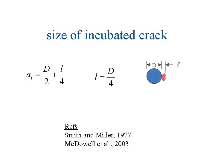 size of incubated crack Refs Smith and Miller, 1977 Mc. Dowell et al. ,