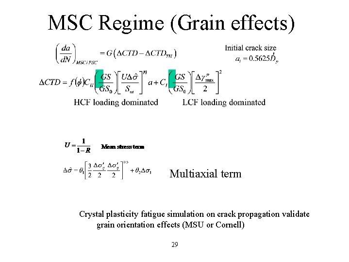 MSC Regime (Grain effects) Multiaxial term Crystal plasticity fatigue simulation on crack propagation validate