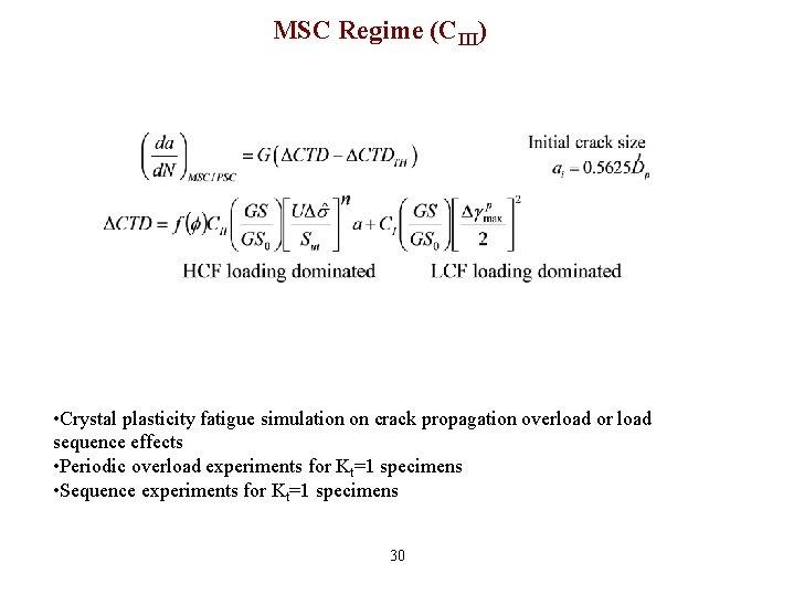 MSC Regime (CIII) • Crystal plasticity fatigue simulation on crack propagation overload or load
