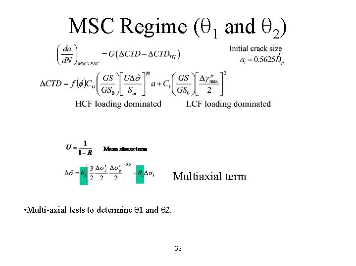 MSC Regime ( 1 and 2) Multiaxial term • Multi-axial tests to determine 1