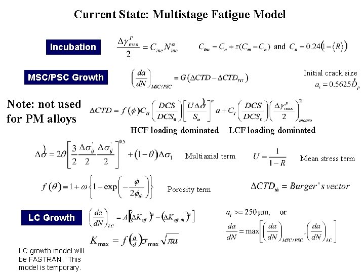 Current State: Multistage Fatigue Model Incubation Initial crack size MSC/PSC Growth Note: not used