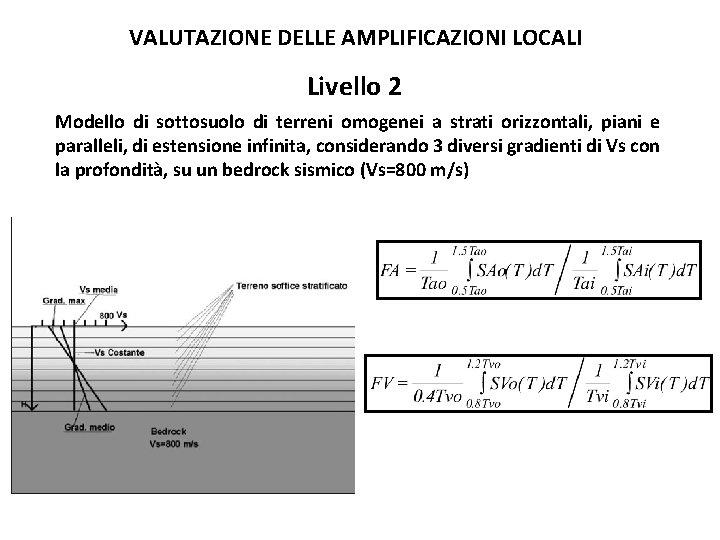 VALUTAZIONE DELLE AMPLIFICAZIONI LOCALI Livello 2 Modello di sottosuolo di terreni omogenei a strati