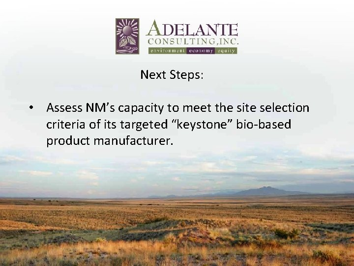 Next Steps: • Assess NM's capacity to meet the site selection criteria of its