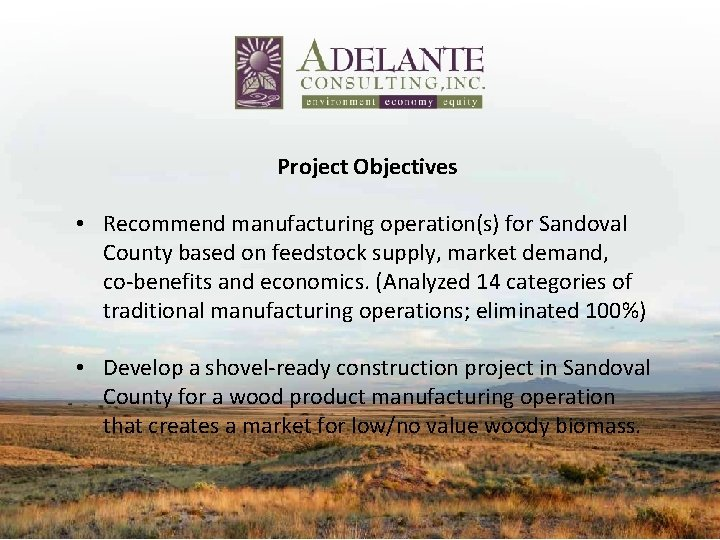 Project Objectives • Recommend manufacturing operation(s) for Sandoval County based on feedstock supply, market