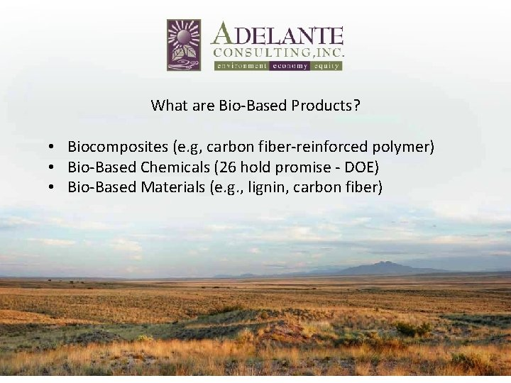 What are Bio‐Based Products? • Biocomposites (e. g, carbon fiber‐reinforced polymer) • Bio‐Based Chemicals