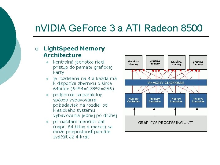 n. VIDIA Ge. Force 3 a ATI Radeon 8500 ¡ Light. Speed Memory Architecture