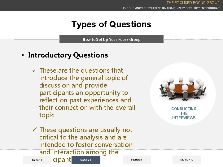 THE FOCUSED FOCUS GROUP PURDUE UNIVERSITY EXTENSION COMMUNITY DEVELOPMENT PROGRAM Types of Questions How