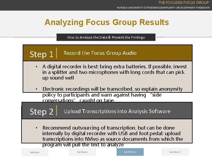THE FOCUSED FOCUS GROUP PURDUE UNIVERSITY EXTENSION COMMUNITY DEVELOPMENT PROGRAM Analyzing Focus Group Results