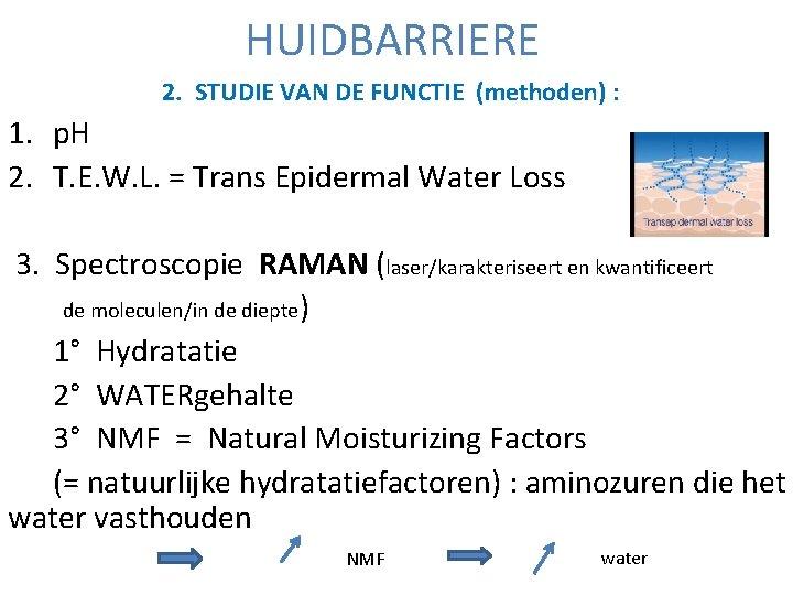 HUIDBARRIERE 2. STUDIE VAN DE FUNCTIE (methoden) : 1. p. H 2. T. E.
