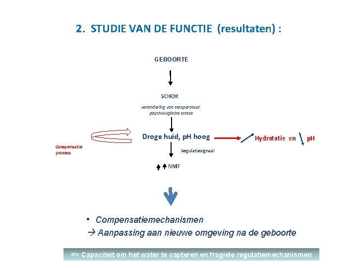 2. STUDIE VAN DE FUNCTIE (resultaten) : GEBOORTE SCHOK verandering van temperatuur psychologische stress