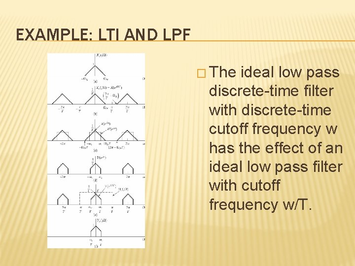 EXAMPLE: LTI AND LPF � The ideal low pass discrete-time filter with discrete-time cutoff