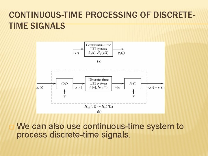 CONTINUOUS-TIME PROCESSING OF DISCRETETIME SIGNALS � We can also use continuous-time system to process
