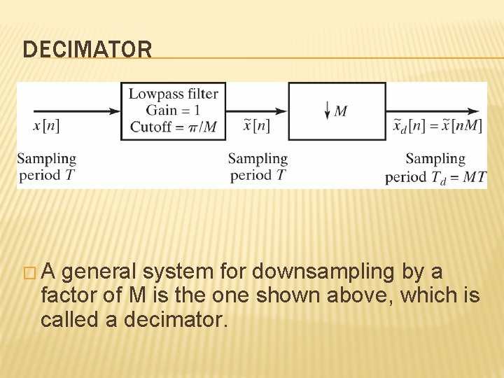 DECIMATOR � A general system for downsampling by a factor of M is the