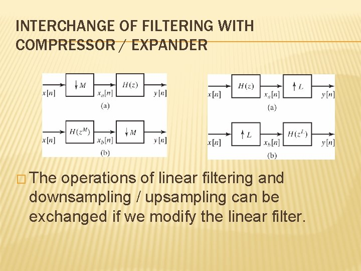 INTERCHANGE OF FILTERING WITH COMPRESSOR / EXPANDER � The operations of linear filtering and