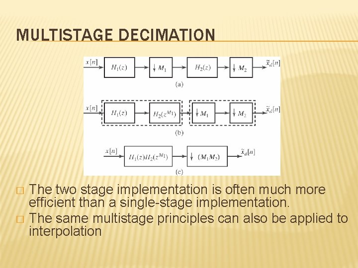 MULTISTAGE DECIMATION The two stage implementation is often much more efficient than a single-stage
