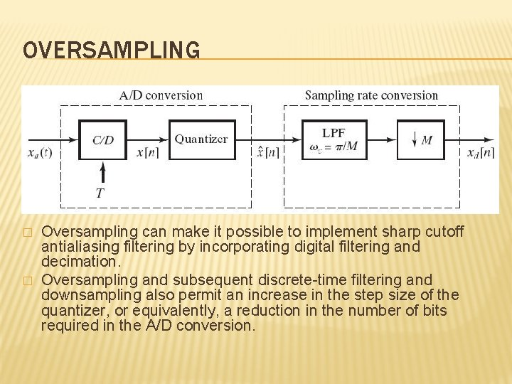 OVERSAMPLING � � Oversampling can make it possible to implement sharp cutoff antialiasing filtering