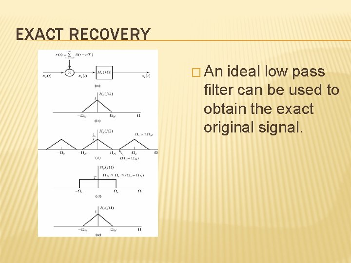 EXACT RECOVERY � An ideal low pass filter can be used to obtain the