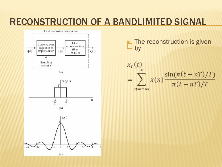 RECONSTRUCTION OF A BANDLIMITED SIGNAL �
