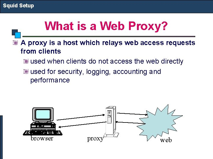 Squid Setup What is a Web Proxy? A proxy is a host which relays