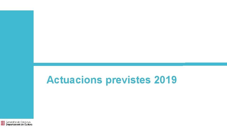 Actuacions previstes 2019