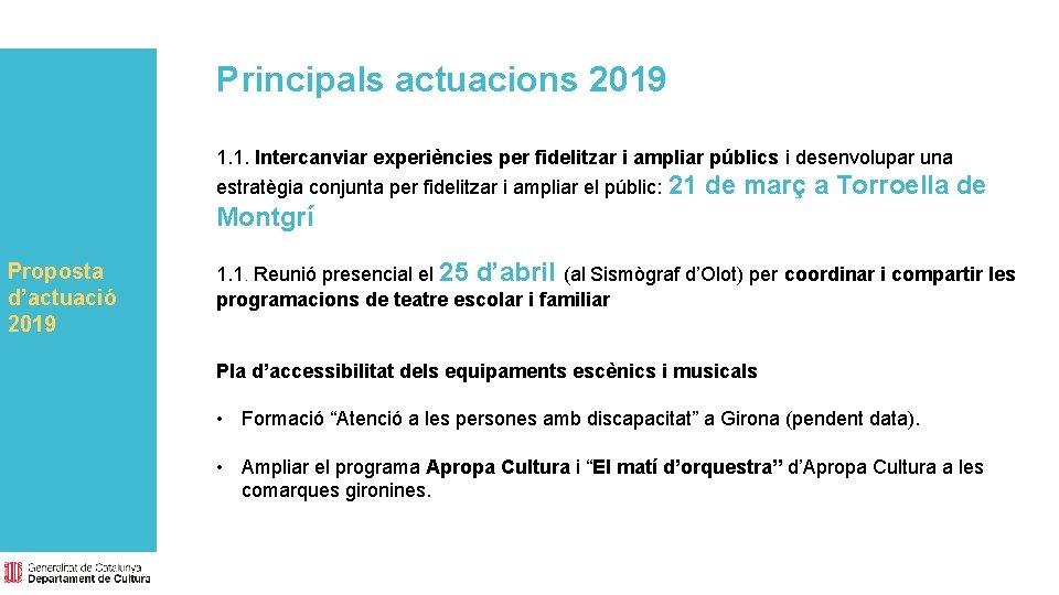Principals actuacions 2019 1. 1. Intercanviar experiències per fidelitzar i ampliar públics i desenvolupar