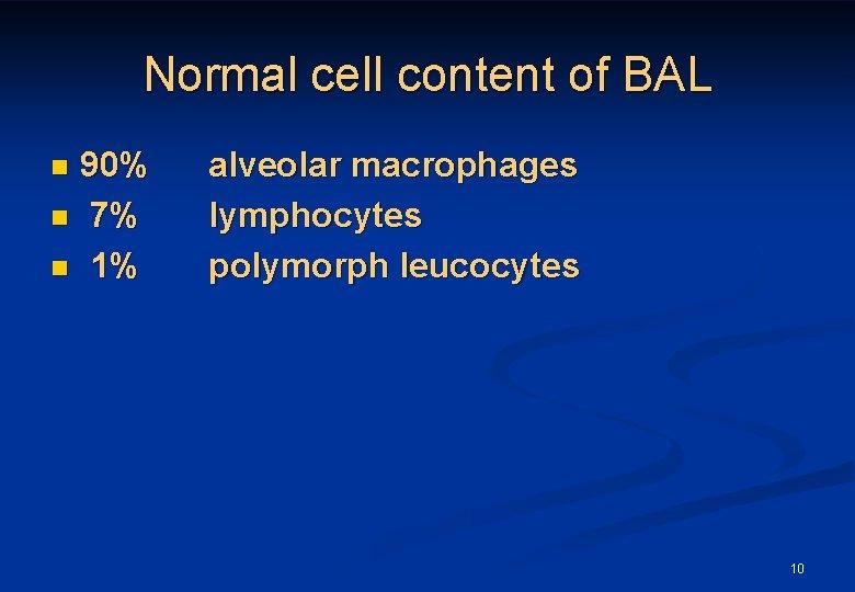 Normal cell content of BAL 90% n 7% n 1% n alveolar macrophages lymphocytes