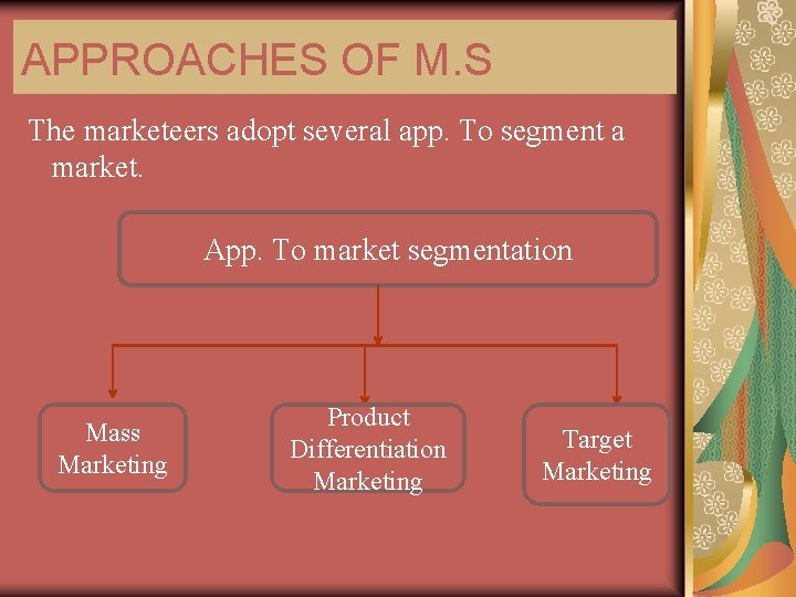 APPROACHES OF M. S The marketeers adopt several app. To segment a market. App.