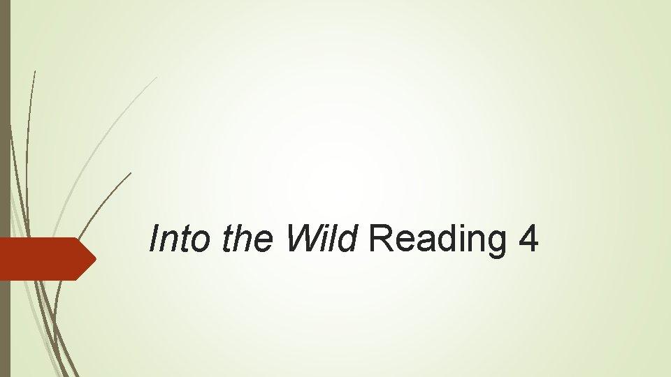 Into the Wild Reading 4