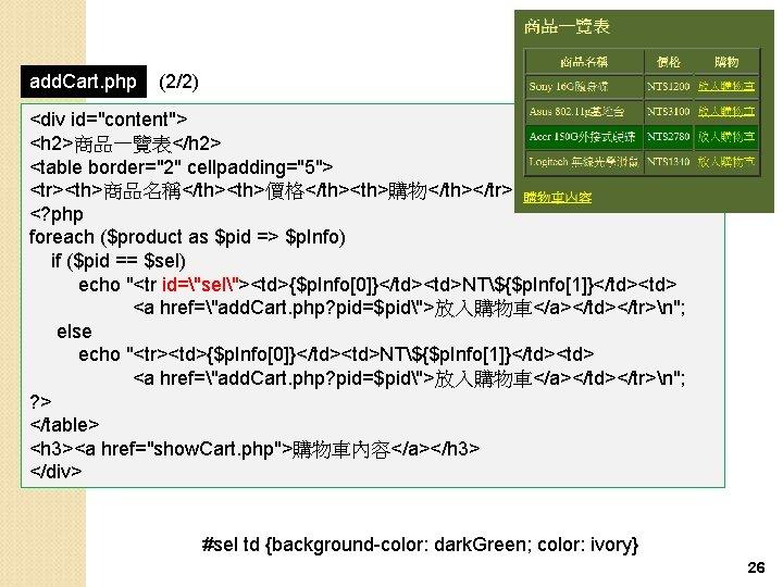 "add. Cart. php (2/2) <div id=""content""> <h 2>商品一覽表</h 2> <table border=""2"" cellpadding=""5""> <tr><th>商品名稱</th><th>價格</th><th>購物</th></tr> <?"