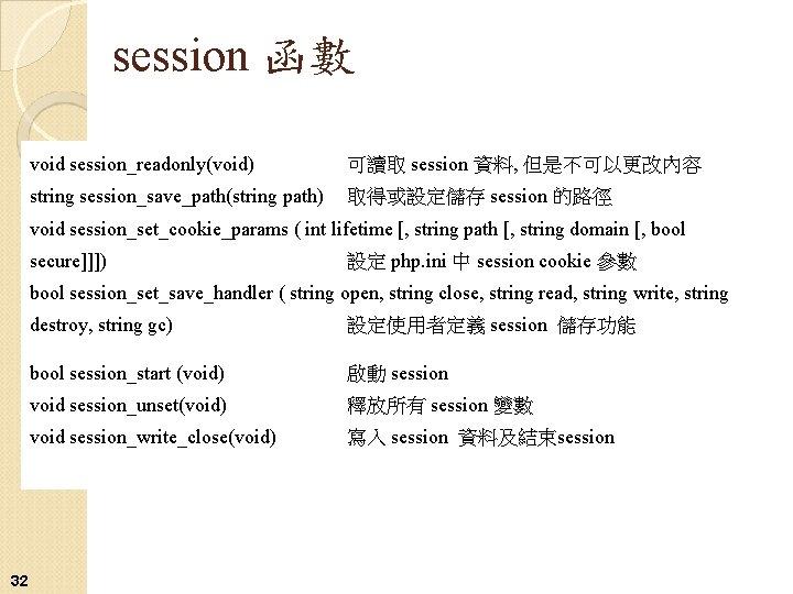 session 函數 void session_readonly(void) 可讀取 session 資料, 但是不可以更改內容 string session_save_path(string path) 取得或設定儲存 session 的路徑
