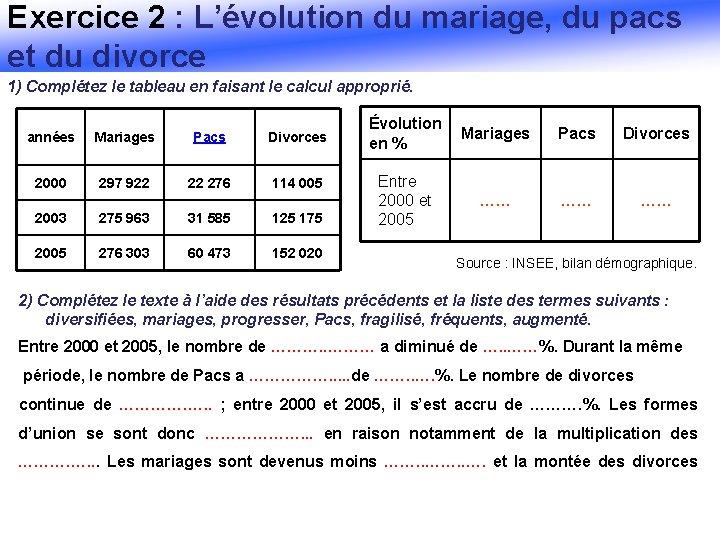 Exercice 2 : L'évolution du mariage, du pacs et du divorce 1) Complétez le
