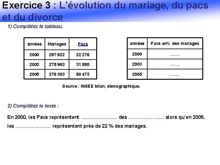 Exercice 3 : L'évolution du mariage, du pacs et du divorce 1) Complétez le