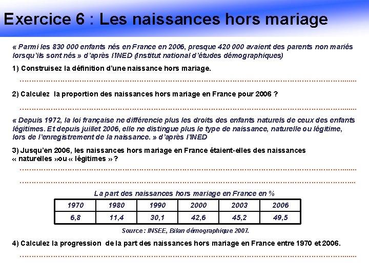 Exercice 6 : Les naissances hors mariage « Parmi les 830 000 enfants nés