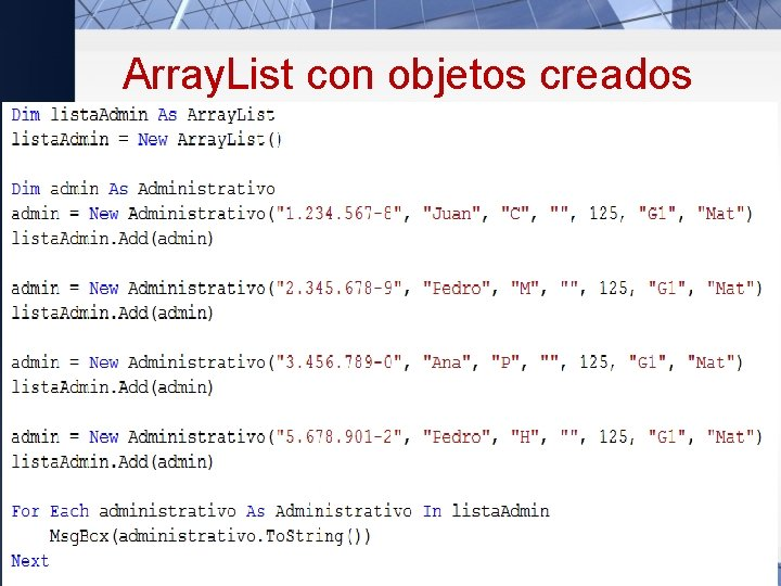 Array. List con objetos creados